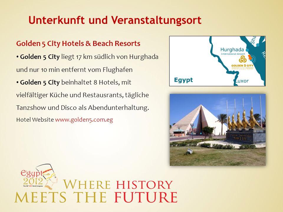 Unterkunft und Veranstaltungsort Golden 5 City Hotels & Beach Resorts Golden 5 City liegt 17 km südlich von Hurghada und nur 10 min entfernt vom Flugh
