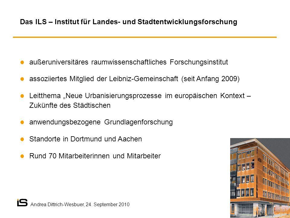 außeruniversitäres raumwissenschaftliches Forschungsinstitut assoziiertes Mitglied der Leibniz-Gemeinschaft (seit Anfang 2009) Leitthema Neue Urbanisi