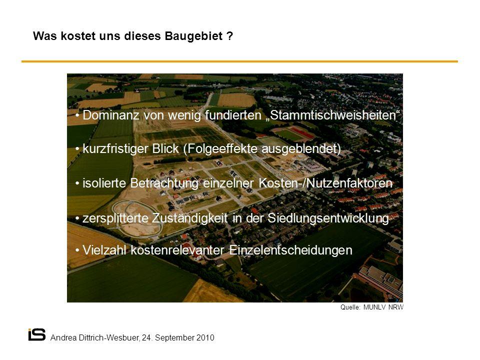 Quelle: MUNLV NRW Was kostet uns dieses Baugebiet ? Andrea Dittrich-Wesbuer, 24. September 2010