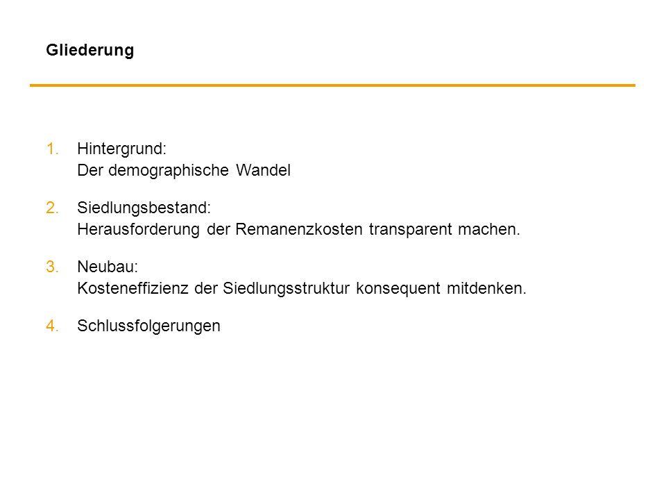Gliederung 1.Hintergrund: Der demographische Wandel 2. Siedlungsbestand: Herausforderung der Remanenzkosten transparent machen. 3.Neubau: Kosteneffizi