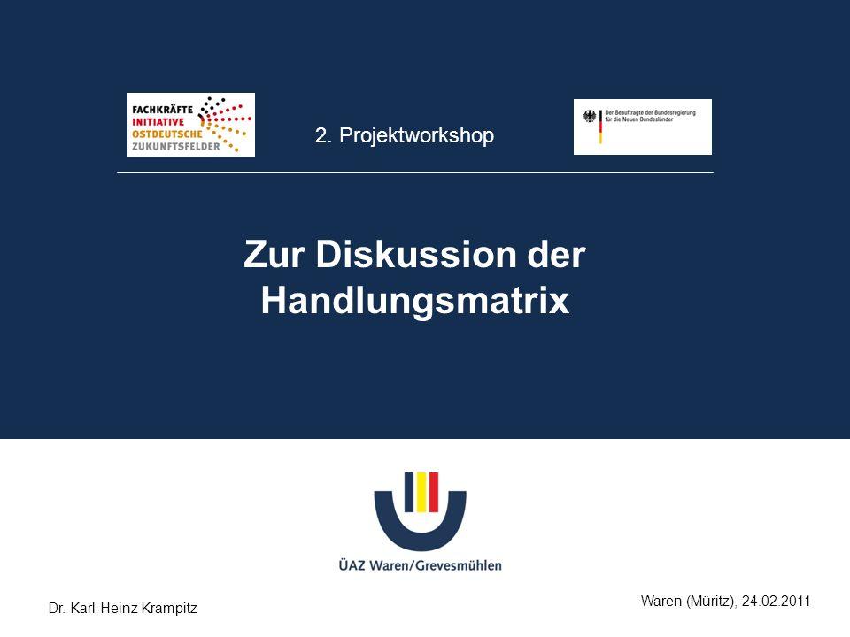 2. Projektworkshop Zur Diskussion der Handlungsmatrix Waren (Müritz), 24.02.2011 Dr. Karl-Heinz Krampitz