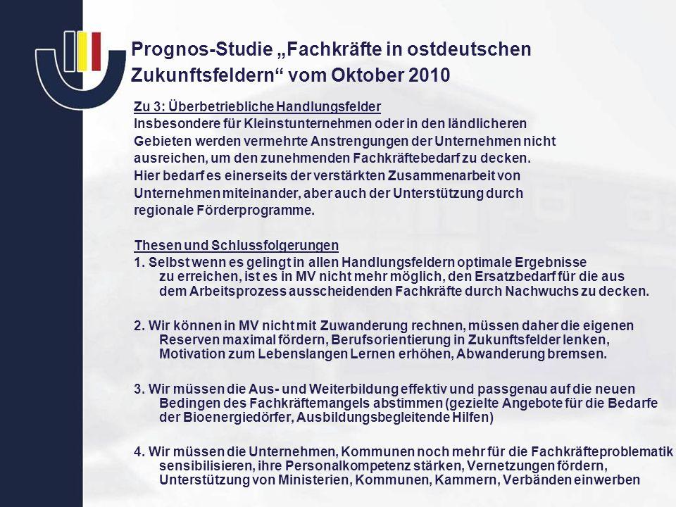 Prognos-Studie Fachkräfte in ostdeutschen Zukunftsfeldern vom Oktober 2010 Zu 3: Überbetriebliche Handlungsfelder Insbesondere für Kleinstunternehmen