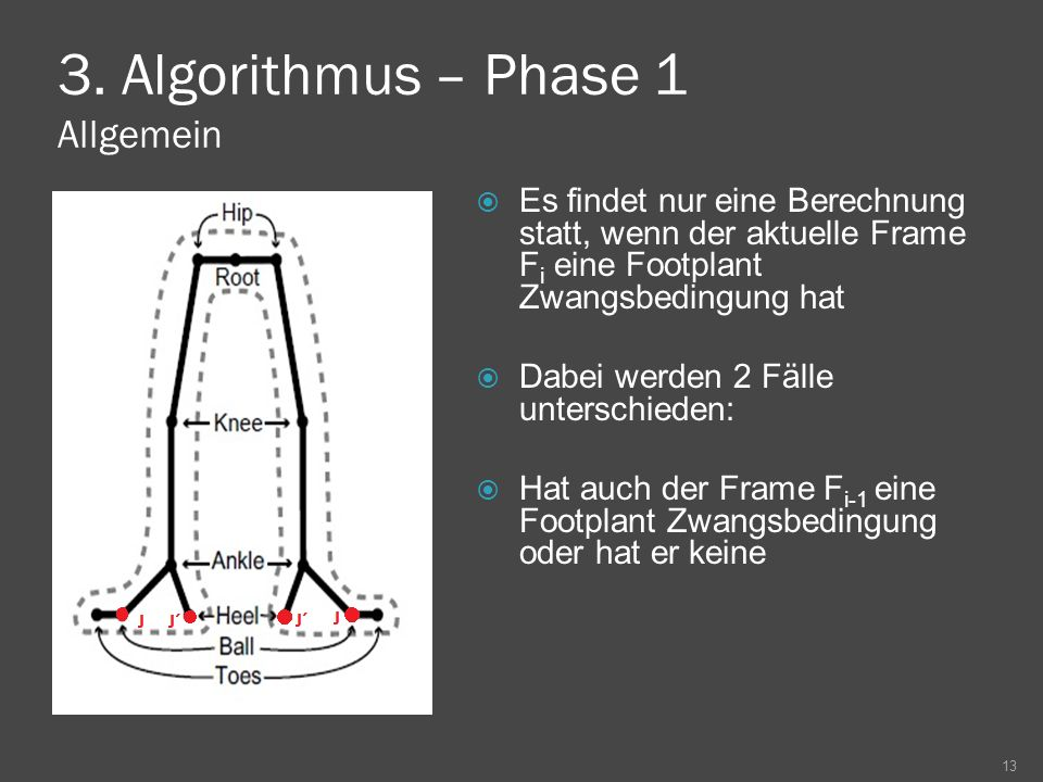 3. Algorithmus – Phase 1 Allgemein Es findet nur eine Berechnung statt, wenn der aktuelle Frame F i eine Footplant Zwangsbedingung hat Dabei werden 2