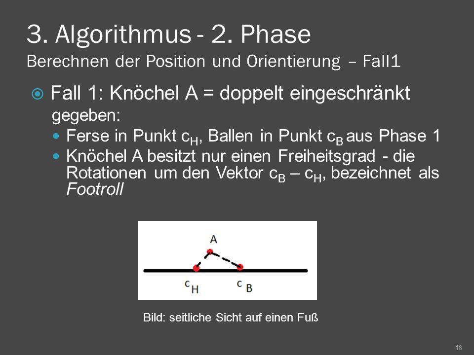 3. Algorithmus - 2. Phase Berechnen der Position und Orientierung – Fall1 Fall 1: Knöchel A = doppelt eingeschränkt gegeben: Ferse in Punkt c H, Balle