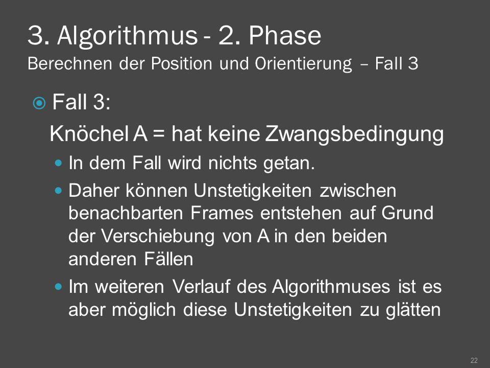3. Algorithmus - 2. Phase Berechnen der Position und Orientierung – Fall 3 Fall 3: Knöchel A = hat keine Zwangsbedingung In dem Fall wird nichts getan
