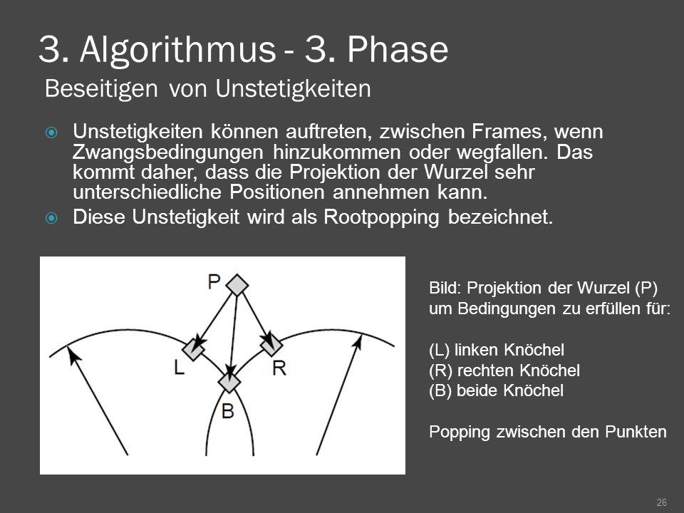 3. Algorithmus - 3. Phase Beseitigen von Unstetigkeiten Unstetigkeiten können auftreten, zwischen Frames, wenn Zwangsbedingungen hinzukommen oder wegf