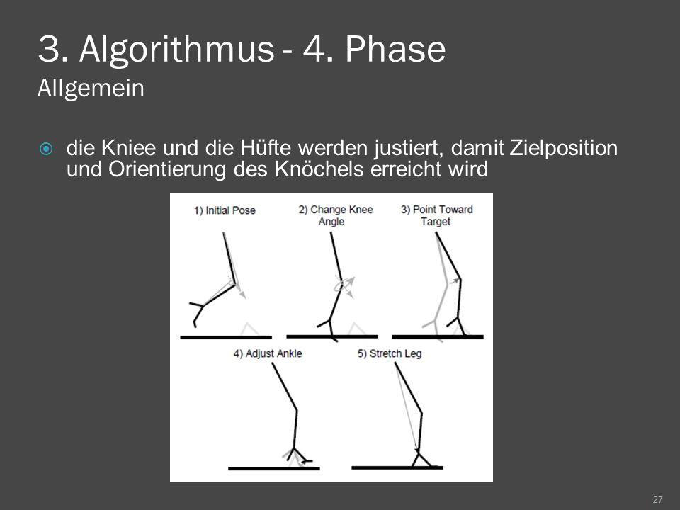 3. Algorithmus - 4. Phase Allgemein die Kniee und die Hüfte werden justiert, damit Zielposition und Orientierung des Knöchels erreicht wird 27