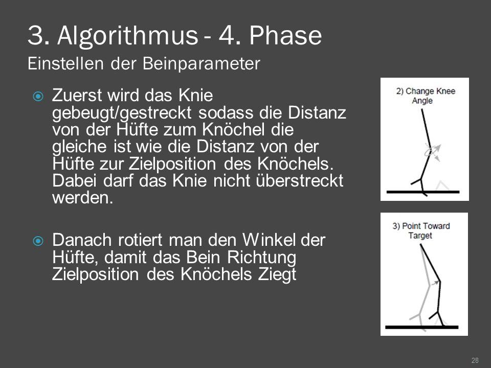 3. Algorithmus - 4. Phase Einstellen der Beinparameter Zuerst wird das Knie gebeugt/gestreckt sodass die Distanz von der Hüfte zum Knöchel die gleiche