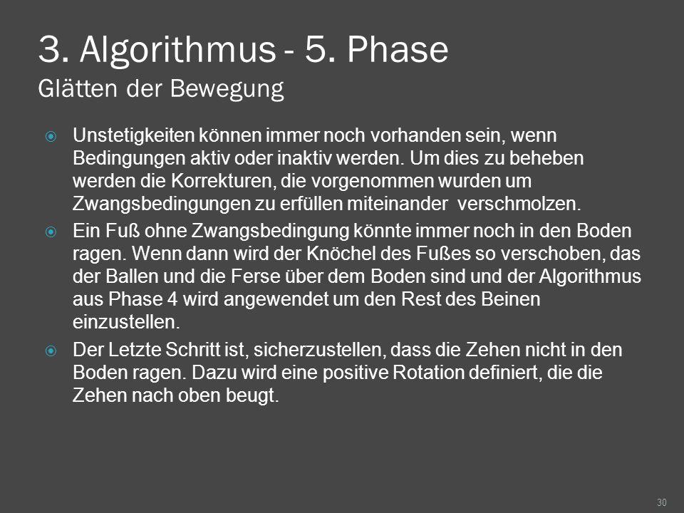 3. Algorithmus - 5. Phase Glätten der Bewegung Unstetigkeiten können immer noch vorhanden sein, wenn Bedingungen aktiv oder inaktiv werden. Um dies zu