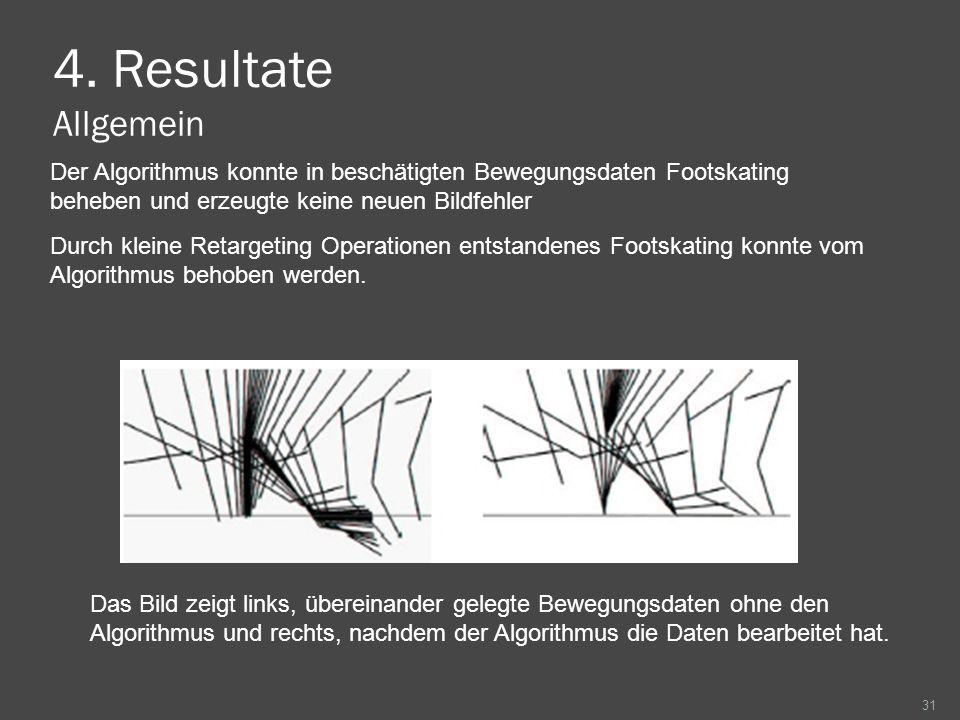 4. Resultate Allgemein 31 Das Bild zeigt links, übereinander gelegte Bewegungsdaten ohne den Algorithmus und rechts, nachdem der Algorithmus die Daten