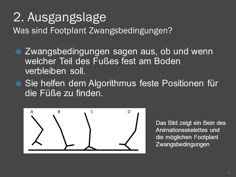 2. Ausgangslage Was sind Footplant Zwangsbedingungen? Zwangsbedingungen sagen aus, ob und wenn welcher Teil des Fußes fest am Boden verbleiben soll. S