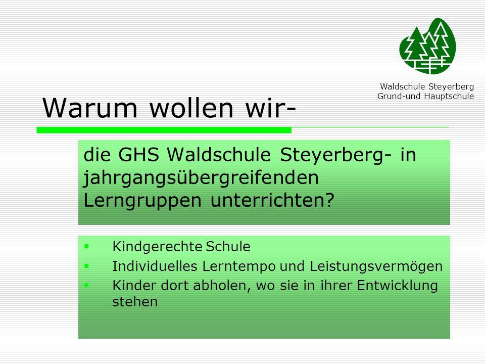 Warum wollen wir- die GHS Waldschule Steyerberg- in jahrgangsübergreifenden Lerngruppen unterrichten? Waldschule Steyerberg Grund-und Hauptschule Kind