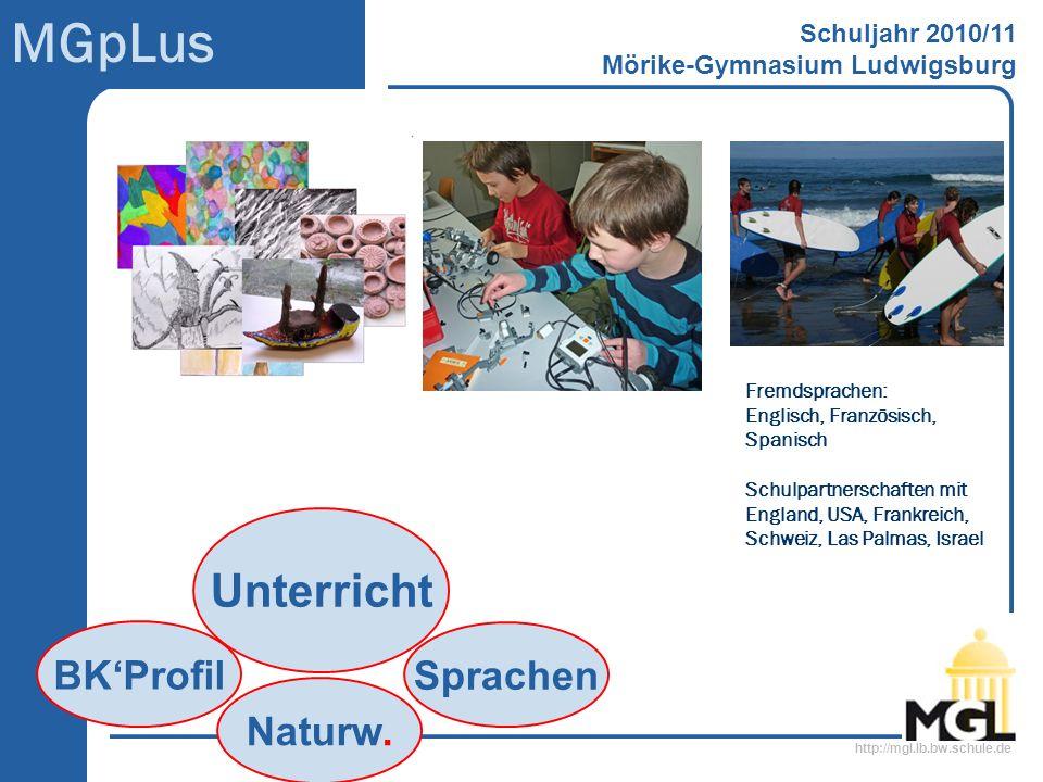 http://mgl.lb.bw.schule.de MGpLus Schuljahr 2010/11 Mörike-Gymnasium Ludwigsburg Sprachen Unterricht Naturw. BKProfil Schulpartnerschaften mit England
