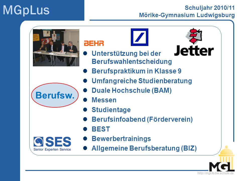 http://mgl.lb.bw.schule.de MGpLus Schuljahr 2010/11 Mörike-Gymnasium Ludwigsburg Unterstützung bei der Berufswahlentscheidung Berufspraktikum in Klass