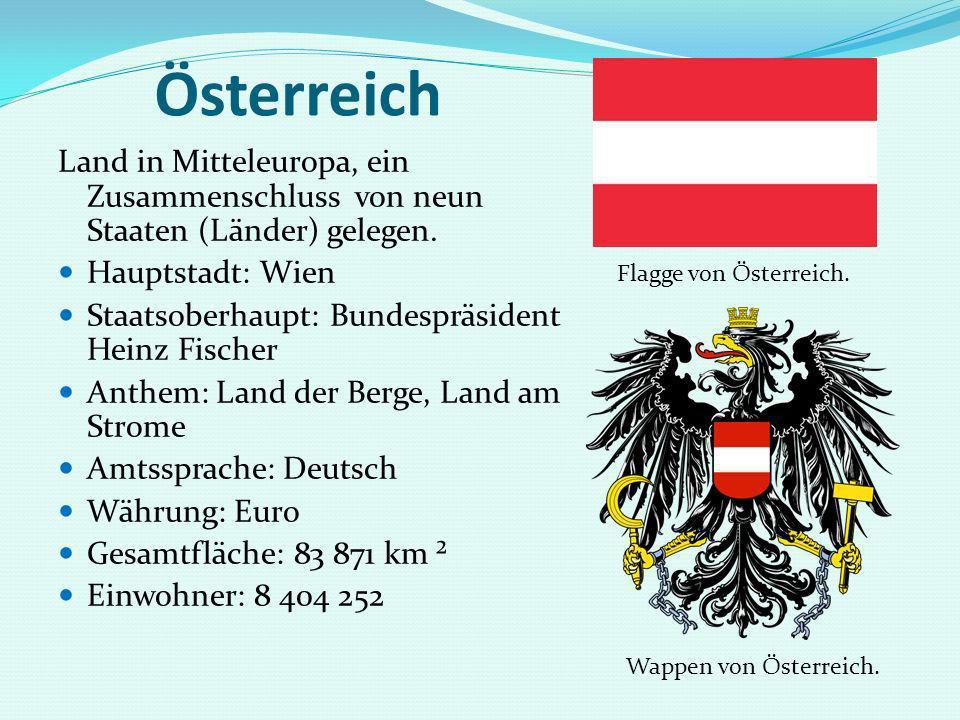 Österreich Land in Mitteleuropa, ein Zusammenschluss von neun Staaten (Länder) gelegen. Hauptstadt: Wien Staatsoberhaupt: Bundespräsident Heinz Fische