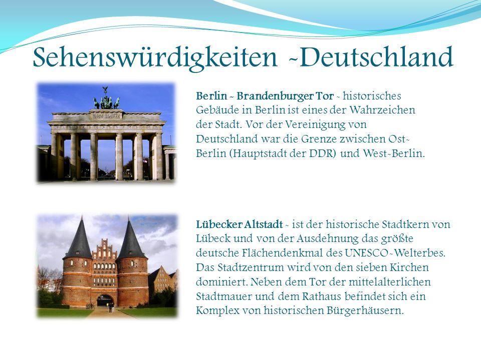 Sehenswürdigkeiten -Deutschland Berlin - Brandenburger Tor - historisches Gebäude in Berlin ist eines der Wahrzeichen der Stadt. Vor der Vereinigung v