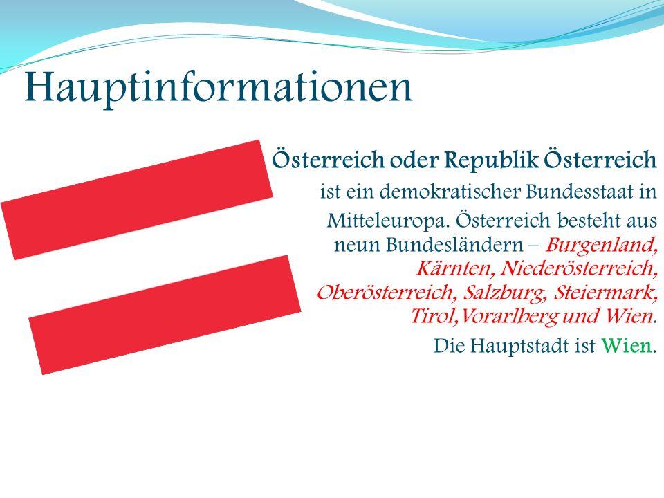 Hauptinformationen Schweiz oder Schweizerische Eidgenossenschaft ist ein Alpenland in Mitteleuropa und ein demokratischer Binnenstaat.