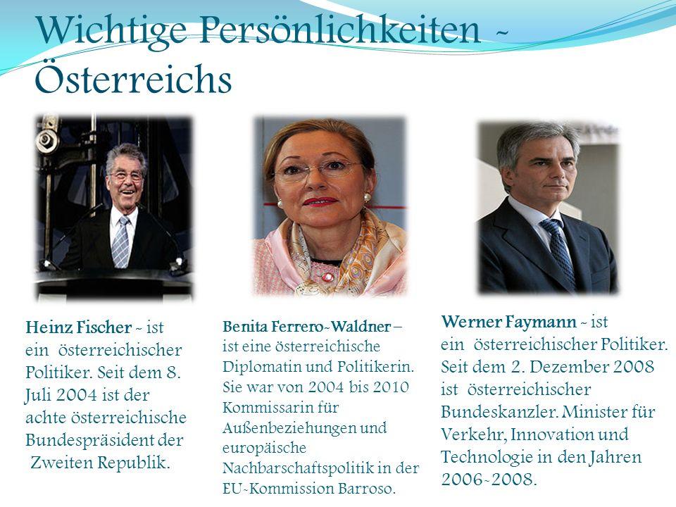 Wichtige Persönlichkeiten - Österreichs Heinz Fischer - ist ein österreichischer Politiker. Seit dem 8. Juli 2004 ist der achte österreichische Bundes