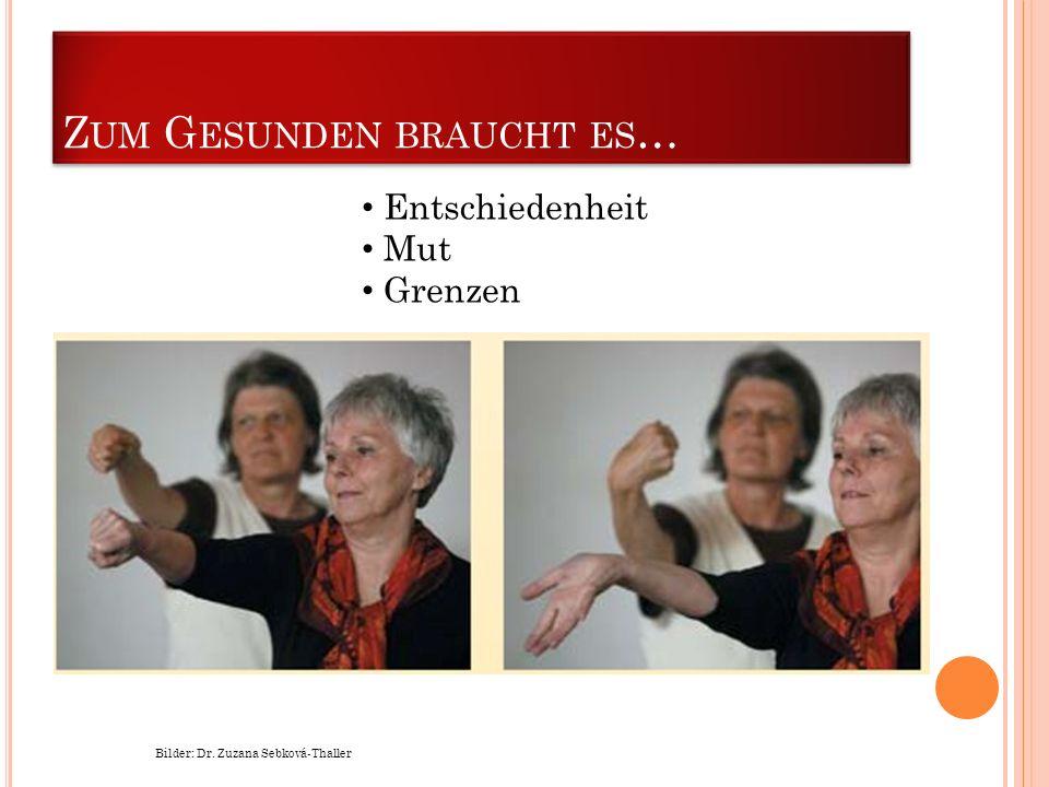 Z UM G ESUNDEN BRAUCHT ES … Bilder: Dr. Zuzana Sebková-Thaller Entschiedenheit Mut Grenzen