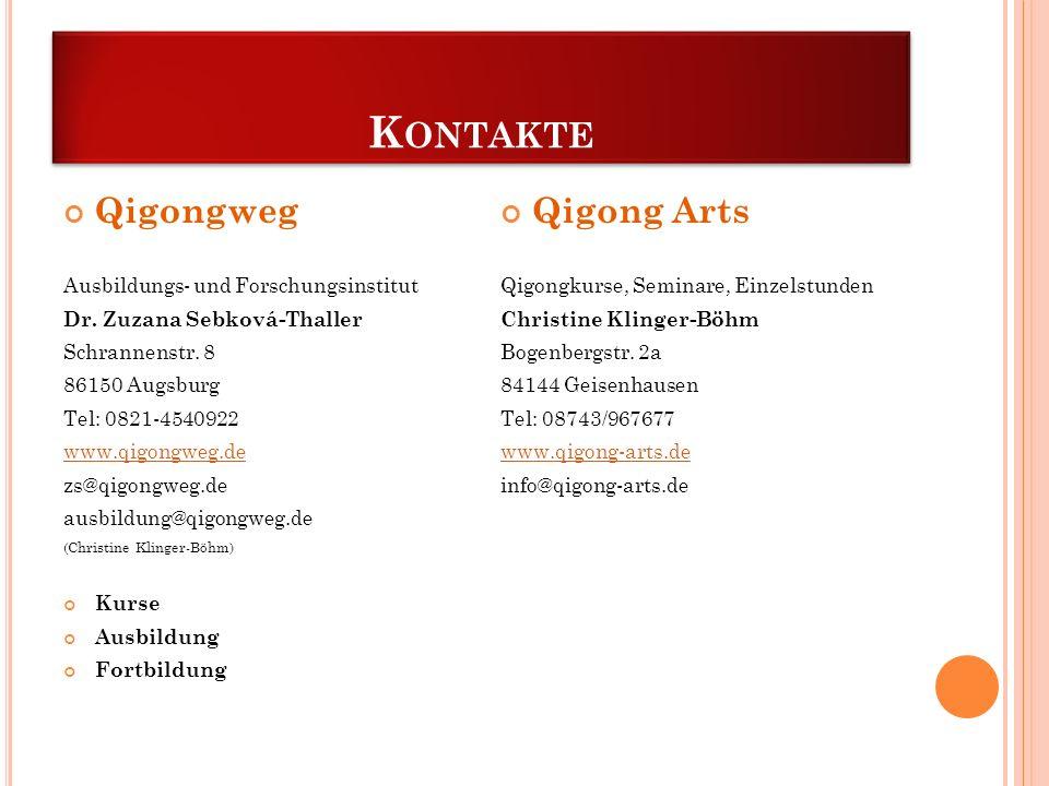 K ONTAKTE Qigongweg Ausbildungs- und Forschungsinstitut Dr. Zuzana Sebková-Thaller Schrannenstr. 8 86150 Augsburg Tel: 0821-4540922 www.qigongweg.de z
