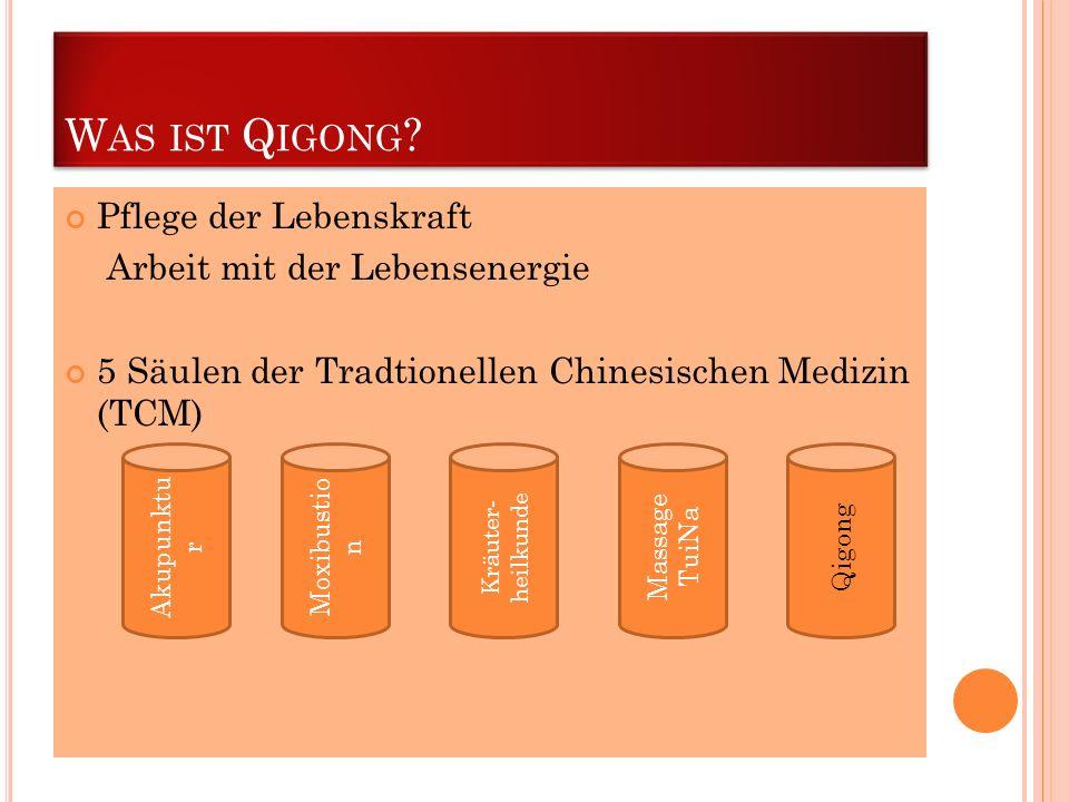 W AS IST Q IGONG ? Pflege der Lebenskraft Arbeit mit der Lebensenergie 5 Säulen der Tradtionellen Chinesischen Medizin (TCM) Akupunktu r Moxibustio n