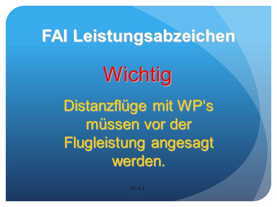 Wichtig Distanzflüge mit WPs müssen vor der Flugleistung angesagt werden.