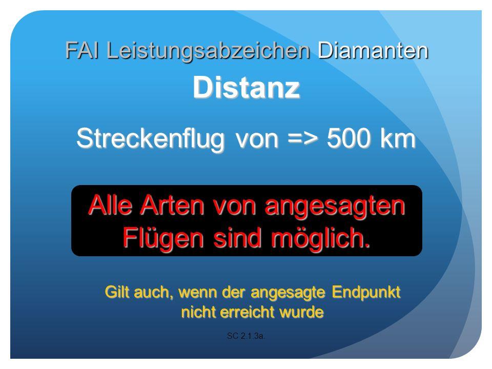 Zielflug von => 300 km Vom Abflugpunkt zu einem Wendepunkt und zurück zum Abflugpunkt SC 2.1.3 b.