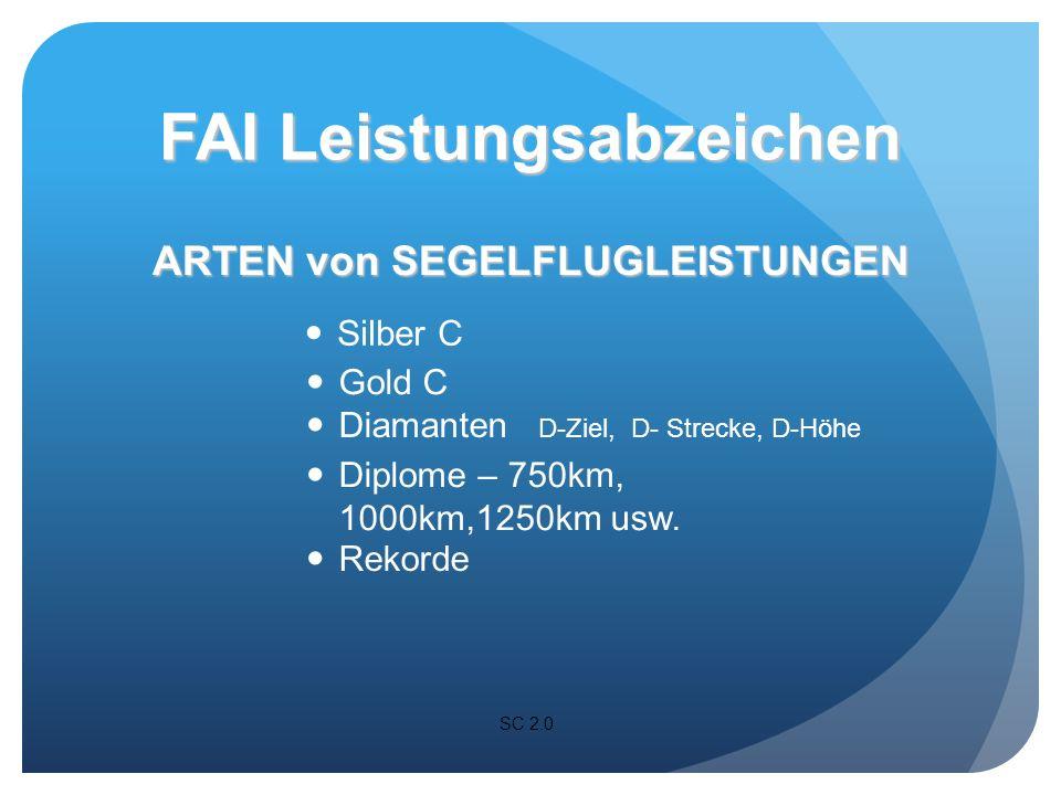 ARTEN von SEGELFLUGLEISTUNGEN SC 1.4.1 FAI Leistungsabzeichen Dauer Distanz Freier Höhengewinn Absolute Höhe Geschwindigkeit