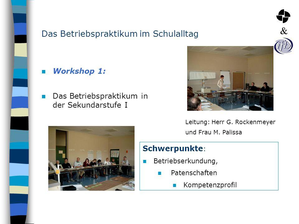 Das Betriebspraktikum im Schulalltag Workshop 1: Das Betriebspraktikum in der Sekundarstufe I Schwerpunkte : Betriebserkundung, Patenschaften Kompeten