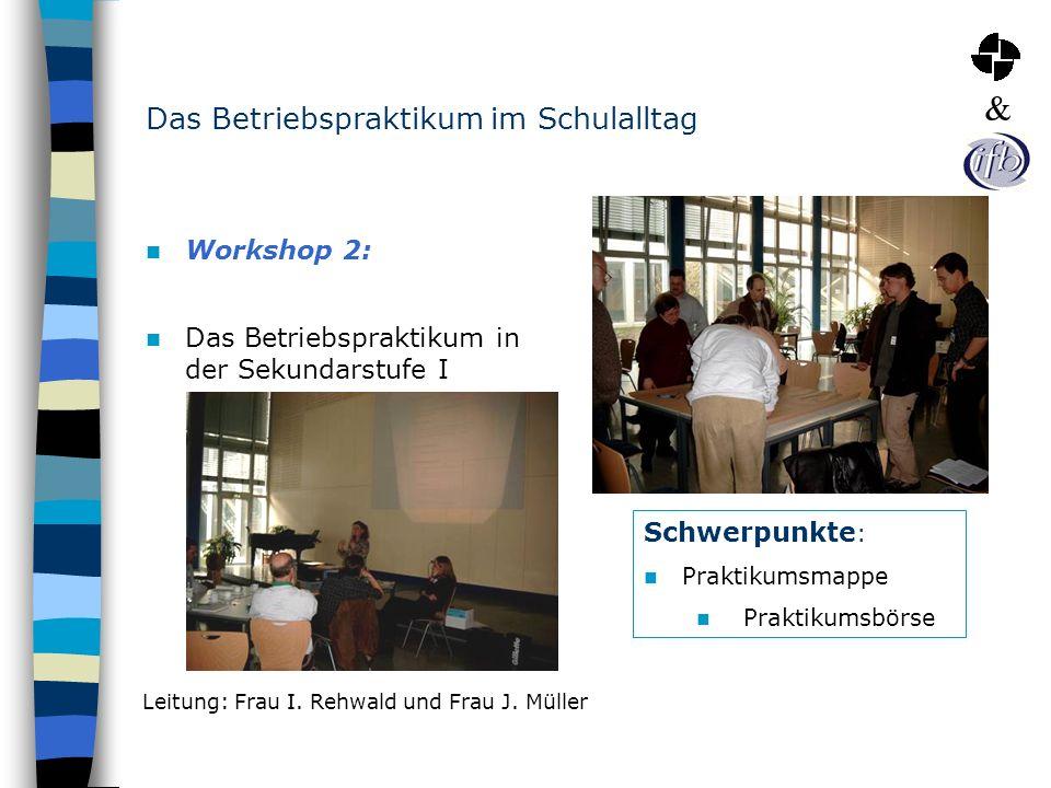 Das Betriebspraktikum im Schulalltag Workshop 2: Das Betriebspraktikum in der Sekundarstufe I Schwerpunkte : Praktikumsmappe Praktikumsbörse Leitung: