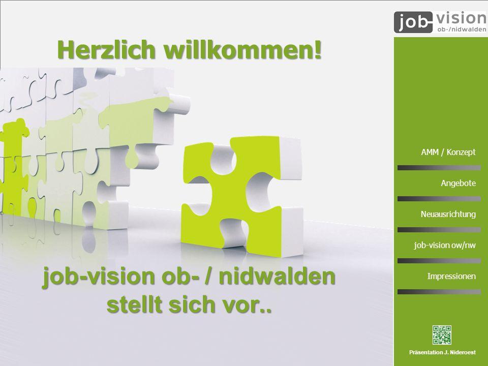 1 AMM / Konzept Angebote Neuausrichtung job-vision ow/nw Impressionen Präsentation J. Nideroest job-vision ob- / nidwalden stellt sich vor.. Herzlich