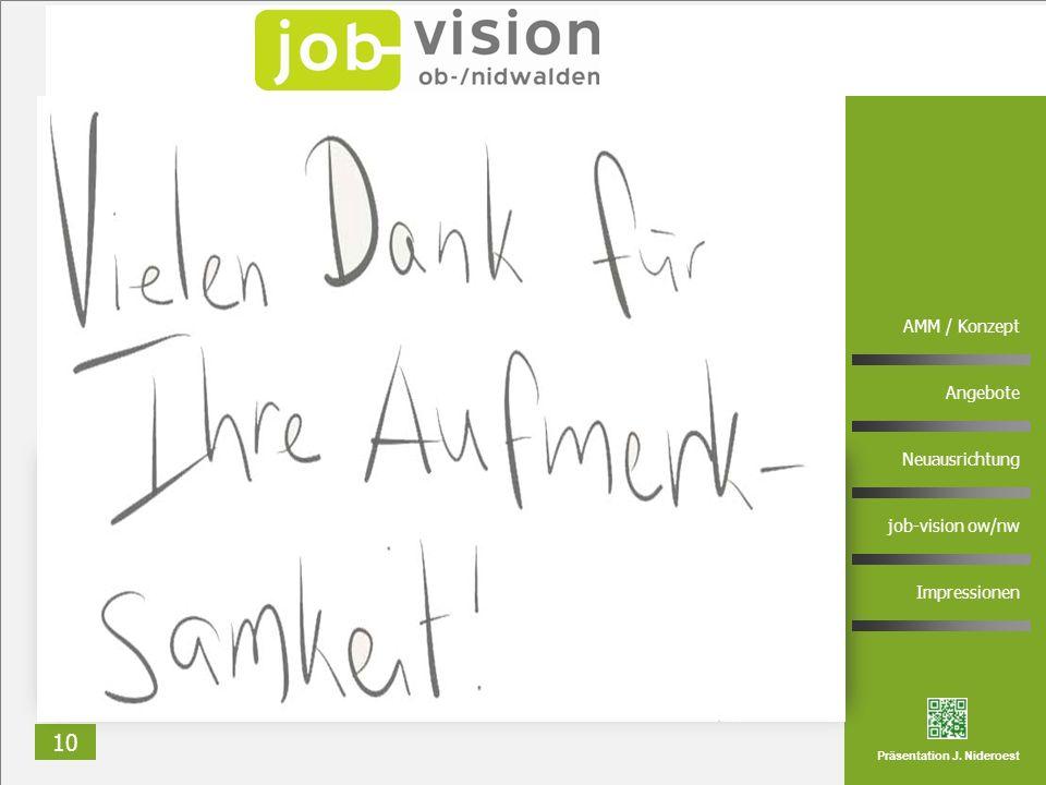 10 AMM / Konzept Angebote Neuausrichtung job-vision ow/nw Impressionen Präsentation J. Nideroest Rundgang in zwei Gruppen Andrea Frei Jörg Nideroest K