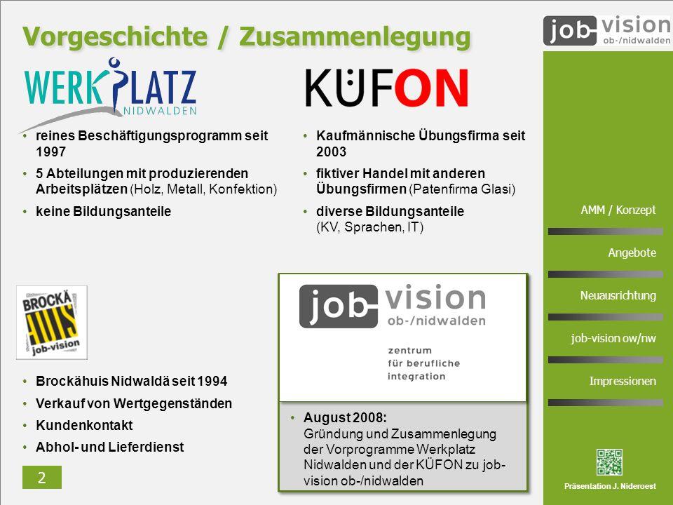 2 AMM / Konzept Angebote Neuausrichtung job-vision ow/nw Impressionen Präsentation J. Nideroest reines Beschäftigungsprogramm seit 1997 5 Abteilungen
