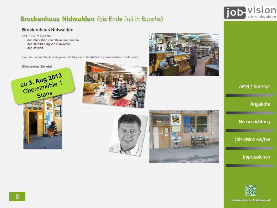 8 AMM / Konzept Angebote Neuausrichtung job-vision ow/nw Impressionen Präsentation J. Nideroest Brockenhaus Nidwalden (bis Ende Juli in Buochs) ab 3.