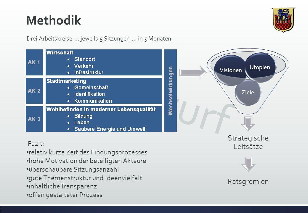 Entwurf Methodik Drei Arbeitskreise … jeweils 5 Sitzungen … in 5 Monaten: Ziele Visionen Utopien Strategische Leitsätze Ratsgremien Fazit: relativ kur