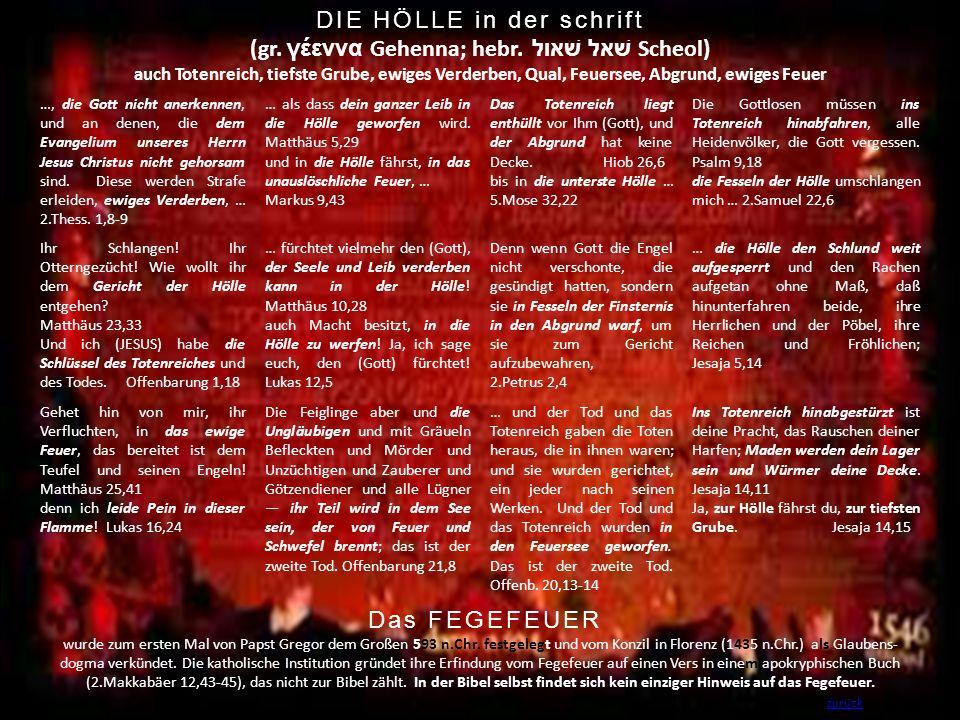 DIE HÖLLE in der schrift (gr. γέεννα Gehenna; hebr. שׁאל שׁאול Scheol) auch Totenreich, tiefste Grube, ewiges Verderben, Qual, Feuersee, Abgrund, ewi