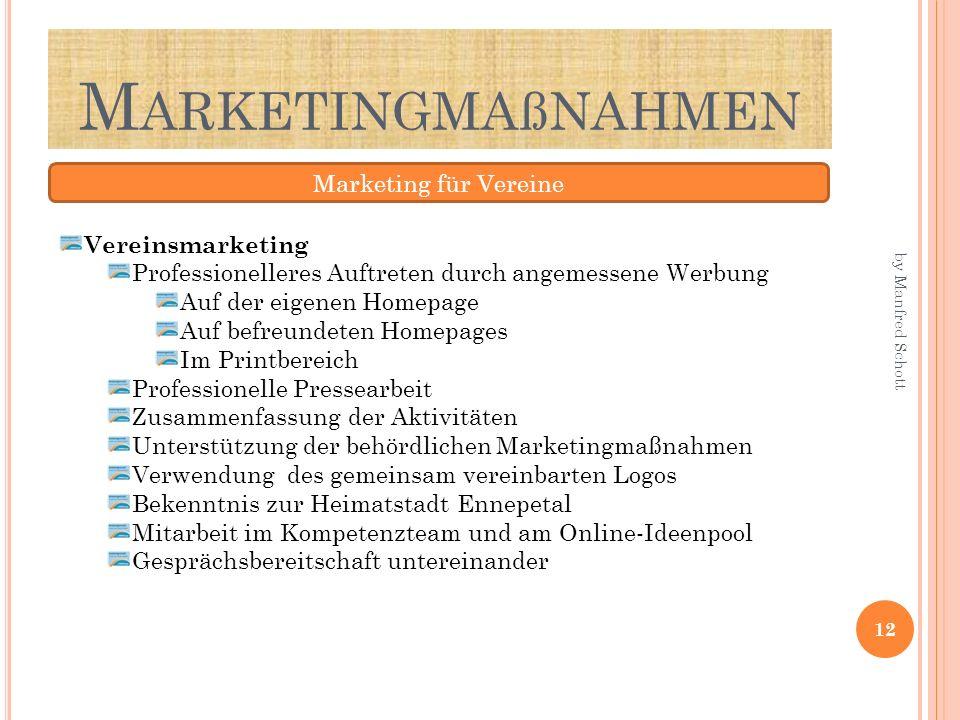 M ARKETINGMAßNAHMEN Marketing für Vereine Vereinsmarketing Professionelleres Auftreten durch angemessene Werbung Auf der eigenen Homepage Auf befreund