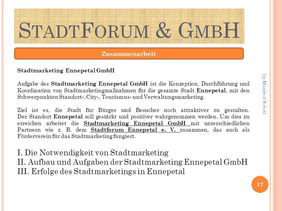 S TADT F ORUM & G MB H Zusammenarbeit Stadtmarketing Ennepetal GmbH Aufgabe des Stadtmarketing Ennepetal GmbH ist die Konzeption, Durchführung und Koordination von Stadtmarketingmaßnahmen für die gesamte Stadt Ennepetal, mit den Schwerpunkten Standort-, City-, Tourismus- und Verwaltungsmarketing.