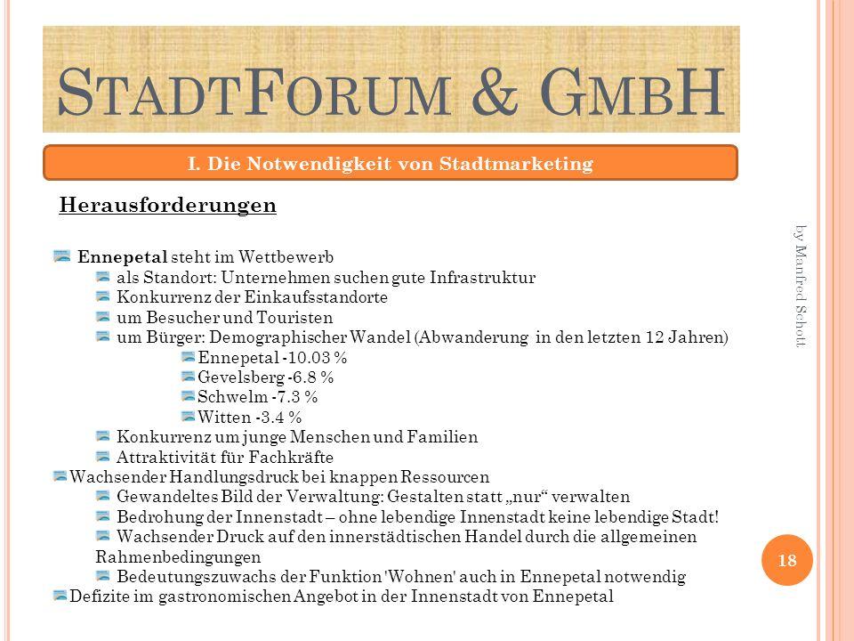 S TADT F ORUM & G MB H I. Die Notwendigkeit von Stadtmarketing Ennepetal steht im Wettbewerb als Standort: Unternehmen suchen gute Infrastruktur Konku