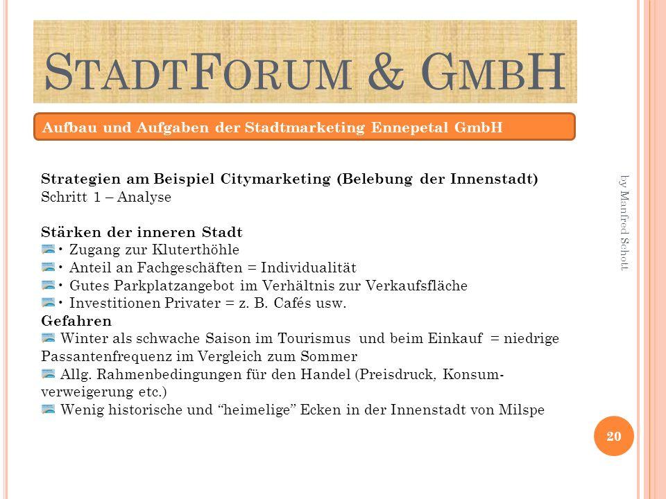 S TADT F ORUM & G MB H Aufbau und Aufgaben der Stadtmarketing Ennepetal GmbH Strategien am Beispiel Citymarketing (Belebung der Innenstadt) Schritt 1