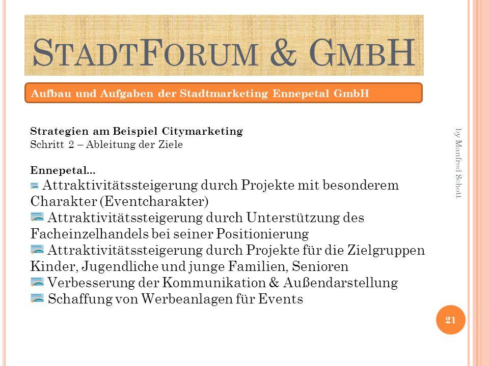 S TADT F ORUM & G MB H Aufbau und Aufgaben der Stadtmarketing Ennepetal GmbH Strategien am Beispiel Citymarketing Schritt 2 – Ableitung der Ziele Enne