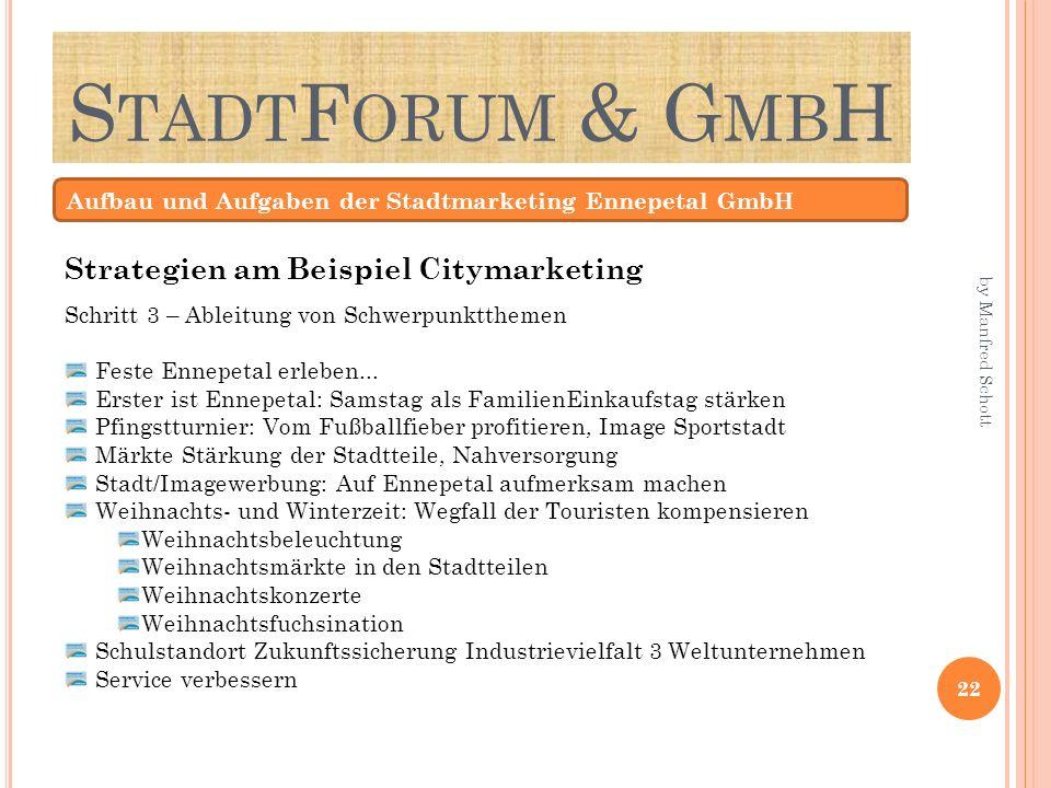 S TADT F ORUM & G MB H Aufbau und Aufgaben der Stadtmarketing Ennepetal GmbH Schritt 3 – Ableitung von Schwerpunktthemen Feste Ennepetal erleben... Er