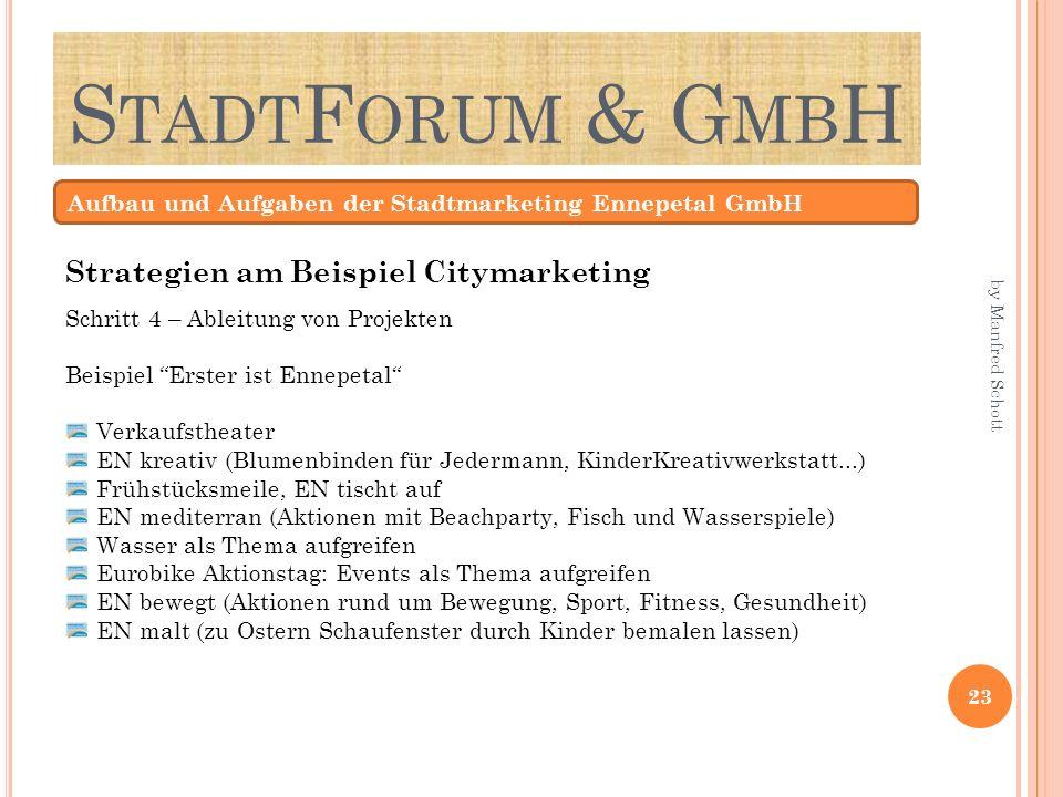 S TADT F ORUM & G MB H Aufbau und Aufgaben der Stadtmarketing Ennepetal GmbH Schritt 4 – Ableitung von Projekten Beispiel Erster ist Ennepetal Verkauf
