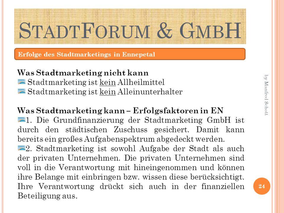 S TADT F ORUM & G MB H Erfolge des Stadtmarketings in Ennepetal Was Stadtmarketing nicht kann Stadtmarketing ist kein Allheilmittel Stadtmarketing ist kein Alleinunterhalter Was Stadtmarketing kann – Erfolgsfaktoren in EN 1.