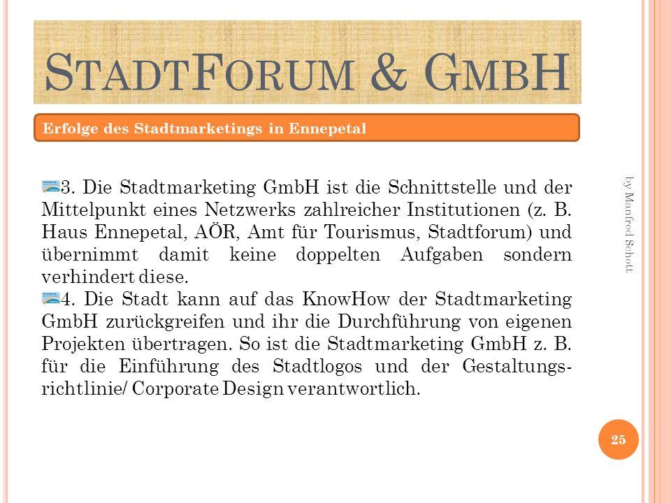 S TADT F ORUM & G MB H Erfolge des Stadtmarketings in Ennepetal 3. Die Stadtmarketing GmbH ist die Schnittstelle und der Mittelpunkt eines Netzwerks z