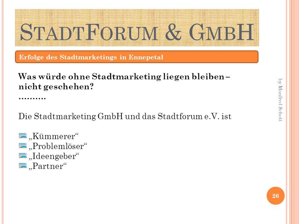 S TADT F ORUM & G MB H Erfolge des Stadtmarketings in Ennepetal Was würde ohne Stadtmarketing liegen bleiben – nicht geschehen? ………. Die Stadtmarketin