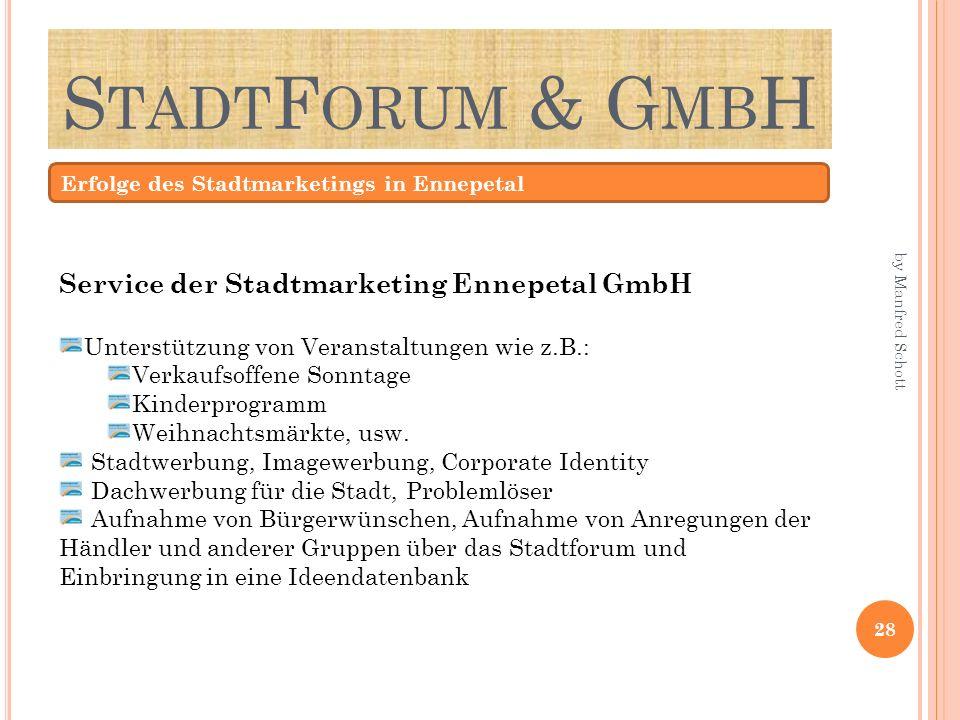 S TADT F ORUM & G MB H Erfolge des Stadtmarketings in Ennepetal Service der Stadtmarketing Ennepetal GmbH Unterstützung von Veranstaltungen wie z.B.: Verkaufsoffene Sonntage Kinderprogramm Weihnachtsmärkte, usw.
