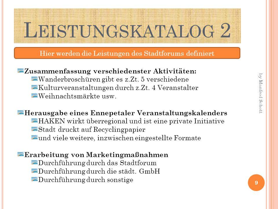 L EISTUNGSKATALOG 2 Hier werden die Leistungen des Stadtforums definiert Zusammenfassung verschiedenster Aktivitäten: Wanderbroschüren gibt es z.Zt. 5