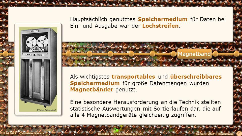 Hauptsächlich genutztes Speichermedium für Daten bei Ein- und Ausgabe war der Lochstreifen.