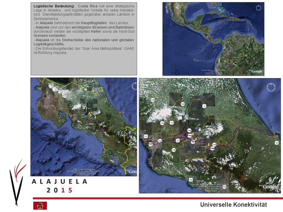 Logistische Bedeutung: Costa Rica hat eine strategische Lage in Amerika, und logistische Vorteile für seine Handels- und Dienstleistungsaktivitäten gegenüber anderen Ländern in Zentralamerika - In Alajuela befindet sich der Hauptflughafen des Landes.
